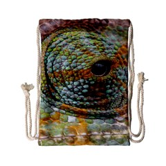 Macro Of The Eye Of A Chameleon Drawstring Bag (small)
