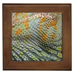 Macro Of Chameleon Skin Texture Background Framed Tiles