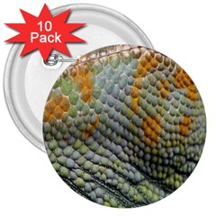 Macro Of Chameleon Skin Texture Background 3  Buttons (10 Pack)
