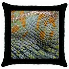 Macro Of Chameleon Skin Texture Background Throw Pillow Case (black)