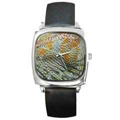 Macro Of Chameleon Skin Texture Background Square Metal Watch