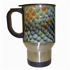 Macro Of Chameleon Skin Texture Background Travel Mugs (White)