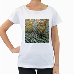 Macro Of Chameleon Skin Texture Background Women s Loose-Fit T-Shirt (White)