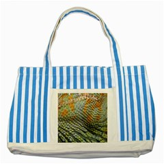 Macro Of Chameleon Skin Texture Background Striped Blue Tote Bag