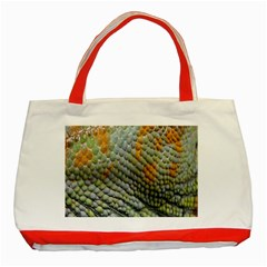 Macro Of Chameleon Skin Texture Background Classic Tote Bag (Red)