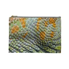 Macro Of Chameleon Skin Texture Background Cosmetic Bag (large)