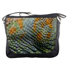 Macro Of Chameleon Skin Texture Background Messenger Bags