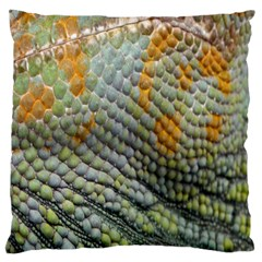 Macro Of Chameleon Skin Texture Background Large Cushion Case (Two Sides)