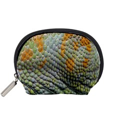 Macro Of Chameleon Skin Texture Background Accessory Pouches (Small)