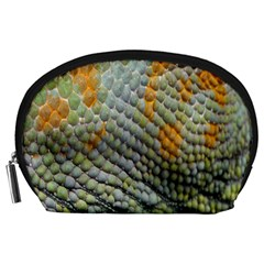 Macro Of Chameleon Skin Texture Background Accessory Pouches (large)