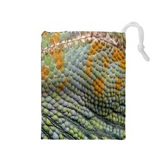 Macro Of Chameleon Skin Texture Background Drawstring Pouches (Medium)