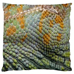 Macro Of Chameleon Skin Texture Background Large Flano Cushion Case (One Side)