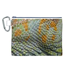 Macro Of Chameleon Skin Texture Background Canvas Cosmetic Bag (l)
