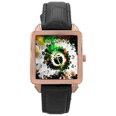 Fractal Universe Computer Graphic Rose Gold Leather Watch