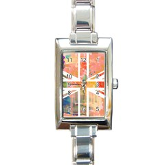 Union Jack Abstract Watercolour Painting Rectangle Italian Charm Watch