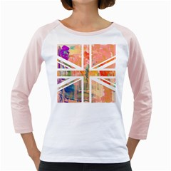 Union Jack Abstract Watercolour Painting Girly Raglans