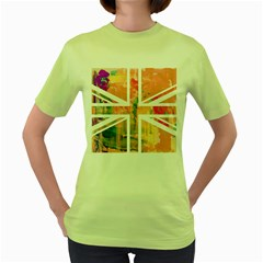 Union Jack Abstract Watercolour Painting Women s Green T Shirt