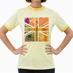 Union Jack Abstract Watercolour Painting Women s Fitted Ringer T-Shirts