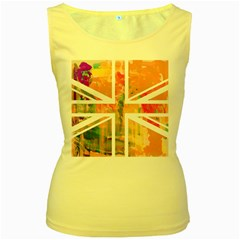 Union Jack Abstract Watercolour Painting Women s Yellow Tank Top