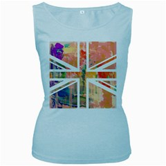 Union Jack Abstract Watercolour Painting Women s Baby Blue Tank Top