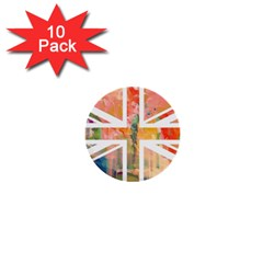 Union Jack Abstract Watercolour Painting 1  Mini Buttons (10 Pack)