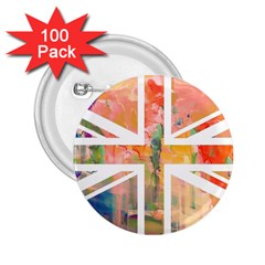 Union Jack Abstract Watercolour Painting 2 25  Buttons (100 Pack)