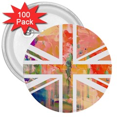 Union Jack Abstract Watercolour Painting 3  Buttons (100 Pack)