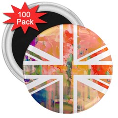 Union Jack Abstract Watercolour Painting 3  Magnets (100 Pack)