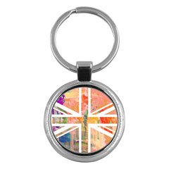 Union Jack Abstract Watercolour Painting Key Chains (Round)
