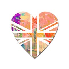 Union Jack Abstract Watercolour Painting Heart Magnet