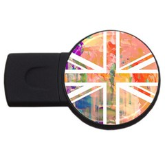 Union Jack Abstract Watercolour Painting USB Flash Drive Round (1 GB)