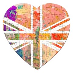 Union Jack Abstract Watercolour Painting Jigsaw Puzzle (Heart)