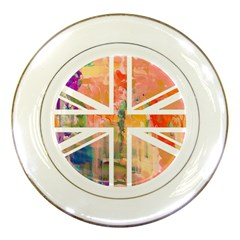 Union Jack Abstract Watercolour Painting Porcelain Plates