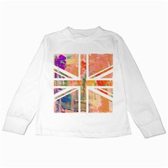 Union Jack Abstract Watercolour Painting Kids Long Sleeve T-Shirts