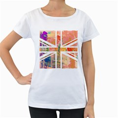 Union Jack Abstract Watercolour Painting Women s Loose-Fit T-Shirt (White)