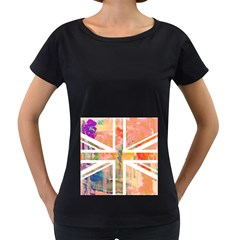 Union Jack Abstract Watercolour Painting Women s Loose-Fit T-Shirt (Black)