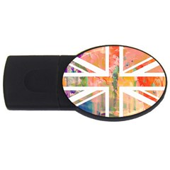 Union Jack Abstract Watercolour Painting Usb Flash Drive Oval (4 Gb)