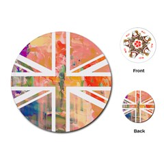 Union Jack Abstract Watercolour Painting Playing Cards (round)