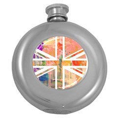 Union Jack Abstract Watercolour Painting Round Hip Flask (5 Oz)