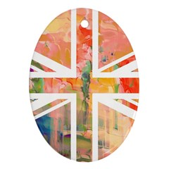 Union Jack Abstract Watercolour Painting Oval Ornament (two Sides)