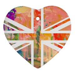 Union Jack Abstract Watercolour Painting Heart Ornament (two Sides)