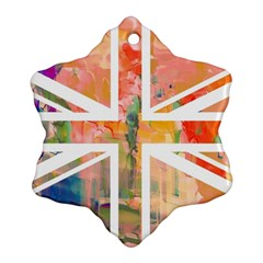 Union Jack Abstract Watercolour Painting Snowflake Ornament (two Sides)