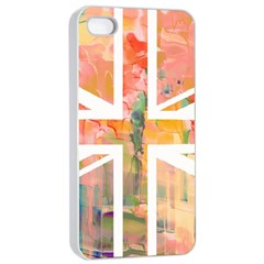 Union Jack Abstract Watercolour Painting Apple iPhone 4/4s Seamless Case (White)