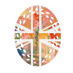 Union Jack Abstract Watercolour Painting Ornament (Oval Filigree)