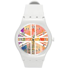 Union Jack Abstract Watercolour Painting Round Plastic Sport Watch (M)