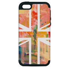 Union Jack Abstract Watercolour Painting Apple Iphone 5 Hardshell Case (pc+silicone)