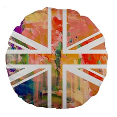 Union Jack Abstract Watercolour Painting Large 18  Premium Round Cushions