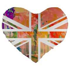 Union Jack Abstract Watercolour Painting Large 19  Premium Heart Shape Cushions