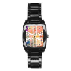 Union Jack Abstract Watercolour Painting Stainless Steel Barrel Watch