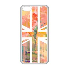 Union Jack Abstract Watercolour Painting Apple iPhone 5C Seamless Case (White)